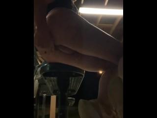 Very risky public dildo ass fuck crazy slutty short shorts!