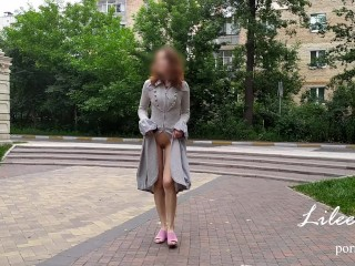 Crazy exhibitionist naked walks around the city. No panties, risky.