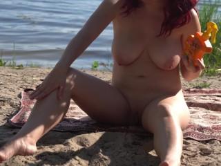 Crazy exhibitionist redhead on public beach got naked, 4K