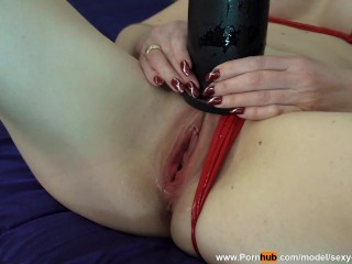 """Very huge bullet dildo in my tight pussy! 8 cm or 3.2 """" in diameter! I almost tore my pussy!"""