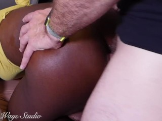 Ebony Babe Strugles with her first double penetration PAINAL