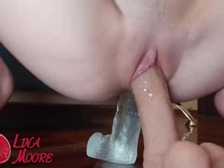 Two tight holes and two big dildos. Close up