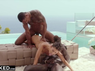 BLACKED Shy model Anya gets DPed by two huge BBCs