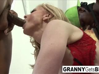 The legendary Nina Hartley gets an amazing interracial gangbang