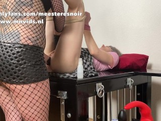 Anal check up with a spreader before she gets fisted