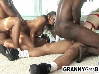 Both Nina and Trina get DP'd in this hot interracial orgy