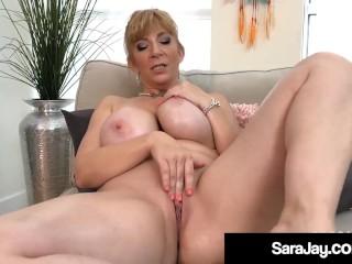 PAWG Milf Sara Jay Rubs Her Body & Masturbates Mature Muff!