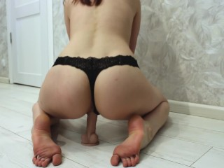 Caress dildo with my feet and hot ride it reverse cowgirl
