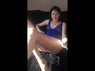 Russian milf fingering nipples and cums showing furry bush.footfetish. hairy lady GinnaGg