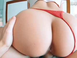 Perfect girl with perfect round ass rides until she gets hot cum - HotKittyAria