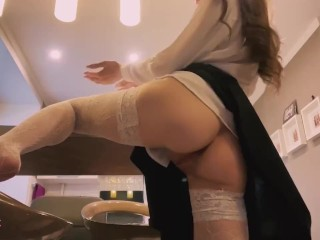 Fucking with dildo in office outfit (perfect tits)
