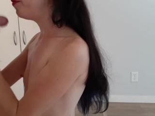 Giant FULL Load On Tiny Tittties