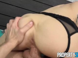 PropertySex - Tiny babe fucks roommate's big cock