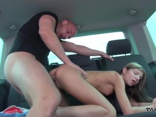 Russian extremely skinny slut ride big strangers cock in driving car & cum