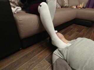 Foot fetish slave kiss feet in white knee socks red pantyhose homefemdome