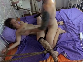 Woman tied bed and get vior torture and fuck