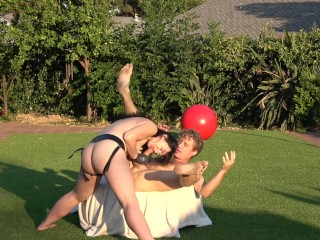 Up his ass in the grass. Pegging outside with a huge dick