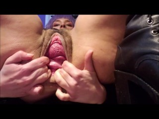 Cute hard pussy fisting, gaping cervix prolapse & squirting orgasms