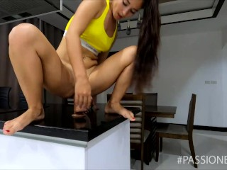 Teen fit girl with tight anal ride on huge dildo | HD
