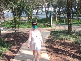 Anna Blue - redhead girl flashing her body in public. She almost got arrested.