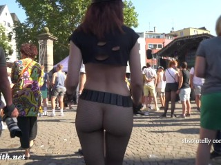 Sexy Jeny Smith at Christopher Street Day parade at Cologne. Public nude