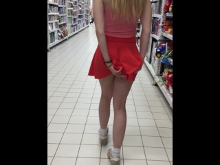 Public Panties Upskirt in Sport Shop