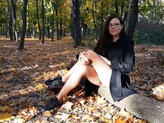 Warm Autumn- NO PANTIES # Up Coat NO PANTIES in Public Park