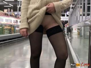 Public Flashing in Stores, No Panties