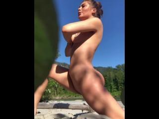 Gorgeous Young babe Public beach nude yoga