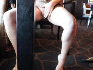restaurant masturbation under the table no panties flashing my pussy