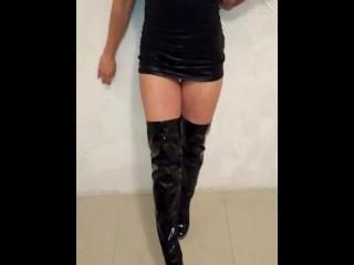 Dominatrix Katrix piss in latex boots on her slave.Best polish copule.