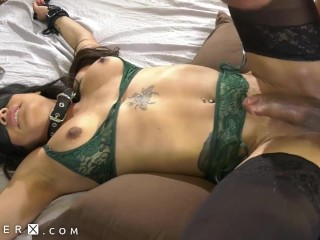 GenderX - Submissive Trans Babe Cuffed & Blindfolded