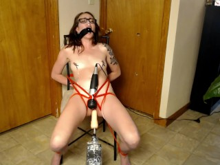tied up and tormented with sex machine and wand past squirting