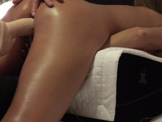 HORNY WIFE HAS CONSTANT ORGASMS FUCKING DILDO MACHINE DOGGY STYLE