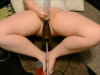 horny slut tries out her new dildo on fucking machine