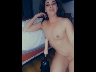 Sexy babe slut gets drilled by fucking machine POV close up pussy shot. Horny wet and slutty.