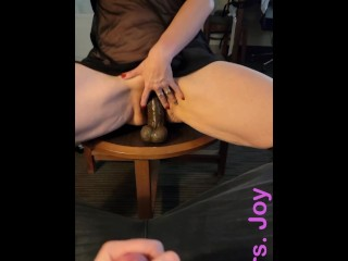 I Make Him Stroke His Cock While I Fuck A Giant Dildo and Tell Him What I Want Cuckold Dirty Talk