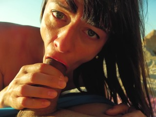 Risky public blowjob on the beach.Travel diaries pt1