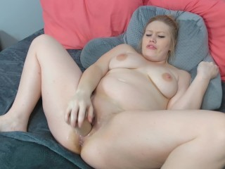 Fucking my dripping wet milf pussy with a massive dildo