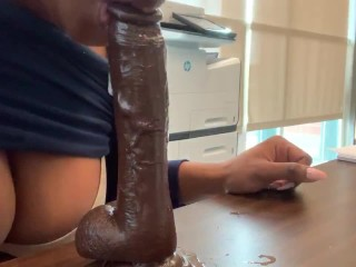 Riding Dick at my real Work Desk ALMOST CAUGHT