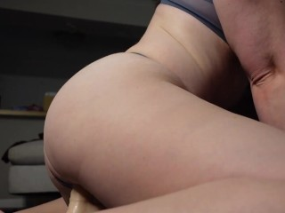 Hot amateur with wet ass pussy rides dildo for moaning orgasm