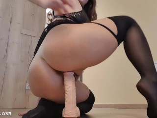 Reverse cowgirl is riding HUGE dildo and cum - Mysti Life