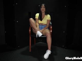 Latina deepthroats 10 cocks and eats cum