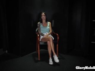 Sexy skinny girl sucking in the gloryhole
