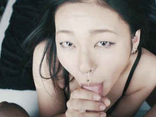 Sloppy wet blowjob by naughy Asian girl