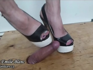 Just practicing with my slave's penis with killer high heels
