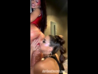 Adriana CHechik and Abgal Mac make eachother squirt in a piblic hallway