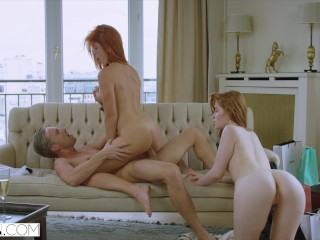VIXEN A Rich Couple Share A Perfect Redhead On Vacation
