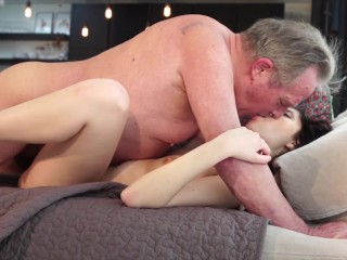 Old man Warming up mypussy and cums in my mouth I swallow it