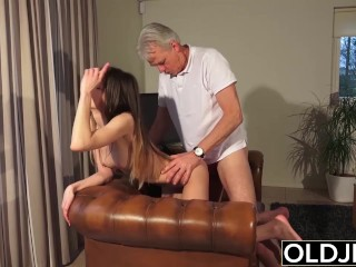 Old and Porn - Babysitter pussy fucked by old man and swallows cum